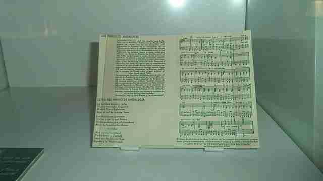 Partitura del himno de Andalucía expuesta en el Museo de la Autonomía de Andalucía, en Coria del Río, Sevilla. Foto de CarlosVdeHabsburgo