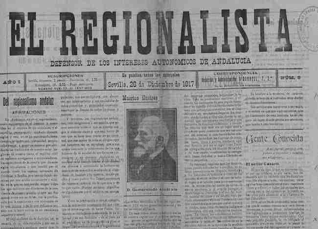 Portada del número 1 de la revista 'El Regionalista', difusora del Ideal Andaluz.