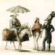 ig. 7. Léonce Langrand. Imagen de hermano lego del convento de los recoletos pidiendo limosna por la ciudad, con mulato maricón con gran traje de calle y estudiante de filosofía de la Universidad de Lima con gran traje de parada, Lima, Perú, 1836