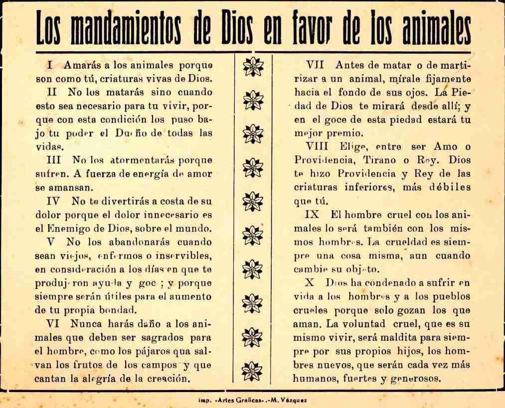 mandamientos de dios en favor de los animales por blas infante